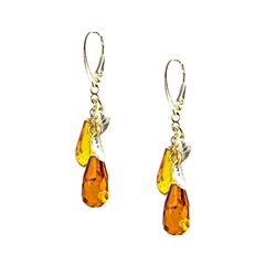 Faceted Amber Drop And Silver Leaf Earrings