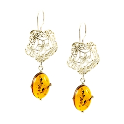 Honey Amber And Silver Filigree Earrings