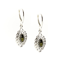 Green Amber Filigree Earrings