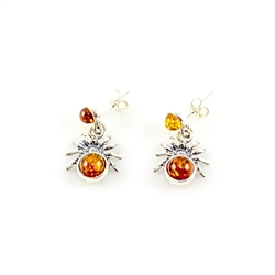 Spider Amber Stud Earrings