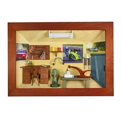 Poland has a long history of craftsmen working with wood in southern Poland. Their workshops produce beautiful hand made boxes, plates and carvings. This shadow box is a look inside a traditional auto repair shop. Note the nice attention to detail. Entire