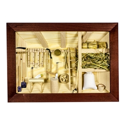 Poland has a long history of craftsmen working with wood in southern Poland. Their workshops produce beautiful hand made boxes, plates and carvings. This shadow box is a look inside a traditional Polish farmer's barn.. Note the nice attention to detail.