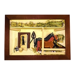Poland has a long history of craftsmen working with wood in southern Poland. Their workshops produce beautiful hand made boxes, plates and carvings. This shadow box is a look inside a traditional Polish horse barn.. Note the nice attention to detail.