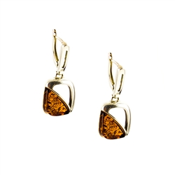 Cognac Amber Designer Earrings