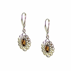 Honey Amber Oval Filigree Earrings