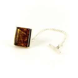 Handsome sterling silver and amber tie tack. We are discounting this item because the pin is shorter than normal.