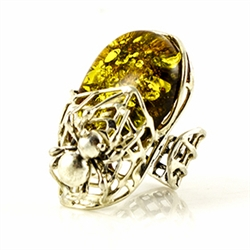 This is an adjustable large amber ring. Fits a size 9 comfortably as is but can be adjusted to fit larger size fingers.