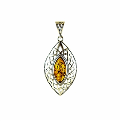 Baltic Amber in a sterling silver frame.