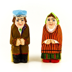 Hand carved and painted, our little couple is dressed in Swietokrzyski costume from southern Poland.
