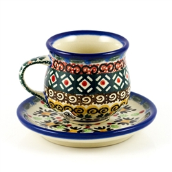 "Designed and signed by master artist. Krystyna Dacyszyn  The artist has been connected with the Artistic Handicraft Cooperative ""Artistic Ceramics and Pottery"" since 1990. A pattern designer since 2002. Hand made in Poland.  Unikat pattern number U3076."