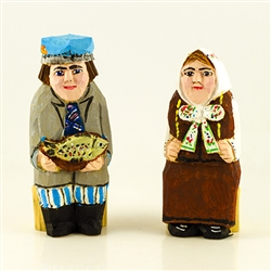Hand carved and painted by folk artist Tadeusz Lesniak , our little couple is dressed in Warminski costume from northeastern Poland.