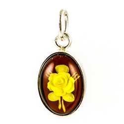 Oval Honey Amber Engraved Rose Cameo Pendant