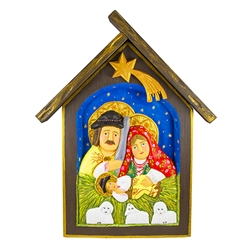Here is a unusual rendition of the Holy Family in Podhale costume. Hand carved and painted by Polish folk artist Bogumila Lesniak. Signed by the artist. Ready to hang.