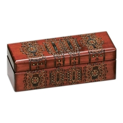 Brass inlay, lacquered, detailed filigree motif. Deep red finish.