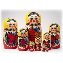 "This cute 9 piece nesting doll is from the village of Semyonov.. Each of the pieces are brightly painted and cheerfully drawn. She stands over 8"" tall."