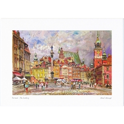 Beautiful print of a watercolor by Polish artist Michal Adamczyk. Looking to the north we see the famous Kolumna Zygmunta III Wazy (Sigismund's Column) on the left and the Royal Castle on the right. Suitable for framing. Includes an envelope for mailing.