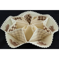 A perfect way to serve your biscuits and rolls. This holder is 100% cotton with a kitchen design in each section. Folds flat for easy storage. Snaps together to form the biscuit holders.