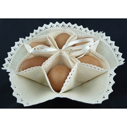 A perfect way to serve and display your boiled eggs. This holder is 100% cotton. Folds flat for easy storage. Ties together to form the holders.