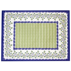 Large Polish cloth placemat featuring Polish stoneware colors and floral design. This material is 100% polyester.. Made in Poland.