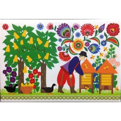 A Polish paper cut scene of a farmer and his orchard from the Lowicz region.  This magnet is about the size of a business card, is non-flexible with a strong magnet.