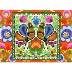 This beautiful note card features a pair of roosters, the traditional symbol representing fertility and bounty.  The scene is framed in a bright green floral background. The mailing envelope features flowers in both the foreground and background.  Spectac