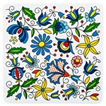 Colorful Kashubian flower motif on a mouse pad. This is a flexible, soft, rubber composite mouse pad with a non skid back