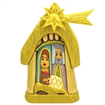 "The Christmas Nativity carved and painted by Polish folk artist Andrzej Cichon from Kutno. Mr Cichon signs his work by carving a stylized version of his initials on the bottom of this carving.  Carved from one block of wood (approx 11.5"" x 6.5"" x 3"").  Sh"