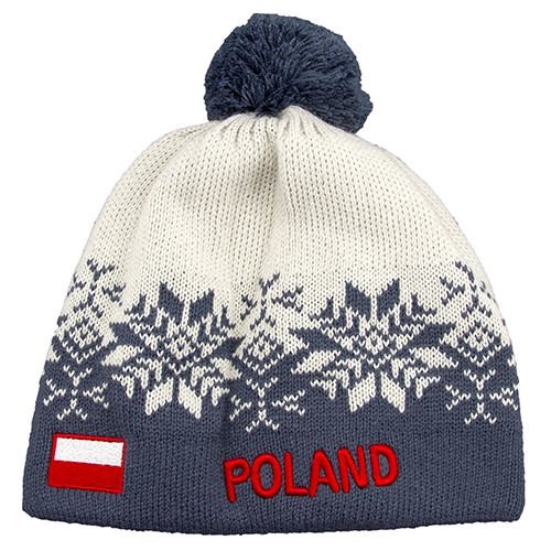 16dffdd75e68 Display your Polish heritage! Grey stretch ribbed-knit winter cap with the  word Poland