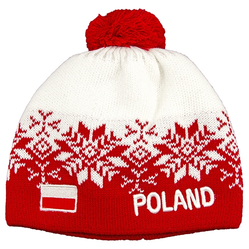 e871f480b074 Display your Polish heritage! White and red stretch ribbed-knit winter cap  with the