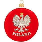 "Celebrate your unique heritage with this distinctive ornament depicting Poland's National Crest. Artfully crafted by skilled glass artisans in Poland, our distinctive 3¼"" tall ornament features a stylized white eagle with golden crown, beak and talons."