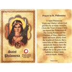 St Philomena Holy Card This unique prayer card contains a third class relics on the front with the prayer on the back. Please note that these are third class relics and are not first or second class with a piece of cloth touched to the relics.