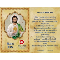 St Jude Holy Card This unique prayer card contains a third class relics on the front with the prayer on the back. Please note that these are third class relics and are not first or second class with a piece of cloth touched to the relics.