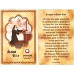 St Rita Holy Card This unique prayer card contains a third class relics on the front with the prayer on the back. Please note that these are third class relics and are not first or second class with a piece of cloth touched to the relics.