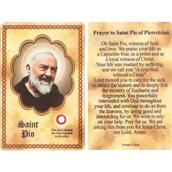 St Pio of Pietrelcina Holy Card This unique prayer card contains a third class relics on the front with the prayer on the back. Please note that these are third class relics and are not first or second class with a piece of cloth touched to the relics.