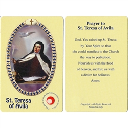 St Teresa of Avila Holy Card This unique prayer card contains a third class relics on the front with the prayer on the back. Please note that these are third class relics and are not first or second class with a piece of cloth touched to the relics.