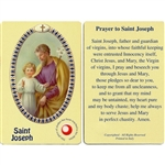 St Joseph Holy Card This unique prayer card contains a third class relics on the front with the prayer on the back. Please note that these are third class relics and are not first or second class with a piece of cloth touched to the shrine.