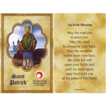 St Patrick Holy Card This unique prayer card contains a third class relics on the front with the prayer on the back. Please note that these are third class relics and are not first or second class with a piece of cloth touched to the shrine.
