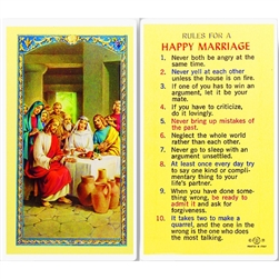 Rules for a Happy Marriage - Holy Card.  Plastic Coated. Picture is on the front, text is on the back of the card.