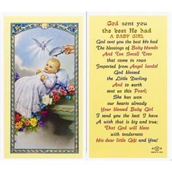 God sent you the best He had - A Baby Girl - Holy Card.  Plastic Coated. Picture is on the front, text is on the back of the card.