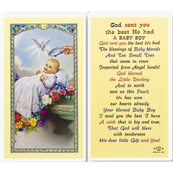 God sent you the best He had - A Baby Boy - Holy Card.  Plastic Coated. Picture is on the front, text is on the back of the card.