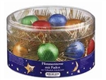 "Made In Germany these round tinsel stars are made to hang on the Christmas tree.   Each center is made up of two round milk chocolate tabs covered in colorful foil.  Careful not to hang them close to lights as they will melt.  Approximately 3"" (7cm) in di"