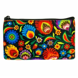 Darling little purse decorated with a Polish mountain floral design. 100% polyester and plastic lined. Made in Poland.