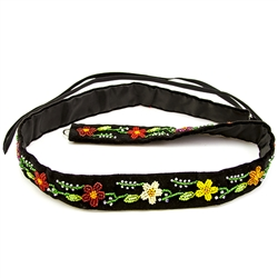 Gorgeous hand beaded black velvet belt from the Lowicz region in Poland Made entirely by hand.