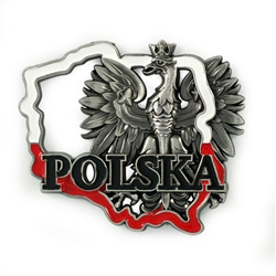 Our magnet features the Polish Eagle, in an outline of Poland in red and white above the word Polska.