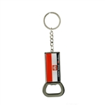 Combination key chain and bottle opener.