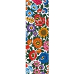 This is a beautiful Zalipie style wycinanka printed on a tab-style bookmark featuring multi-colored folk flowers with a white background.
