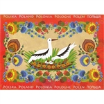 This beautiful note card features a family of nesting storks as they raise their young each summer in Poland.  The scene is framed in a bright red floral background. The mailing envelope features flowers in both the foreground and background. Spectacular!