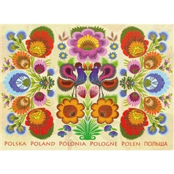 This beautiful note card features a pair roosters, the traditional symbol representing fertility and bounty above the word Poland in 6 languages.  The mailing envelope features flowers in both the foreground and background. Spectacular!