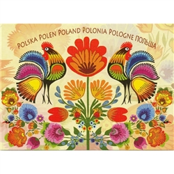 This beautiful note card features a pair roosters, the traditional symbol representing fertility and bounty below the words for Poland in 6 languages. The mailing envelope features flowers in both the foreground and background. Spectacular!