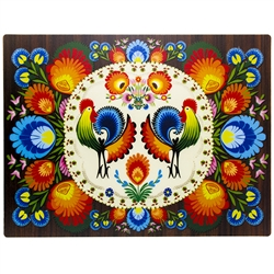 "Easy to clean PVC placemat features a beautiful example of a Polish paper cut (wycinanka). Size 14"" x 10.5""."